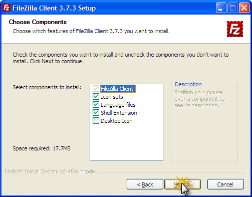 Komponen FileZilla