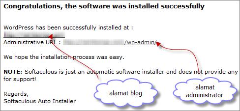 Install WordPress Selesai