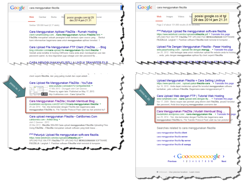gabungan posisi google