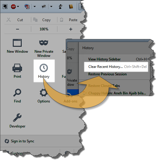 Cara Membersihkan History Browser Firefox