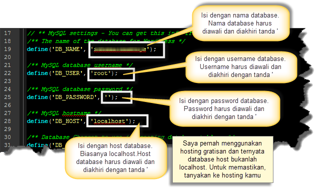 Setting file wp-config.php