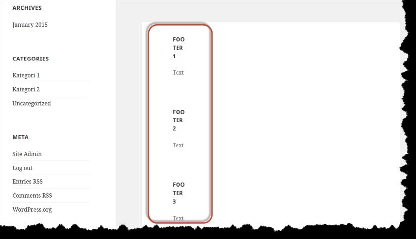 Tampilan Footer Sebelum Pengaturan CSS