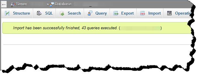 import database berhasil