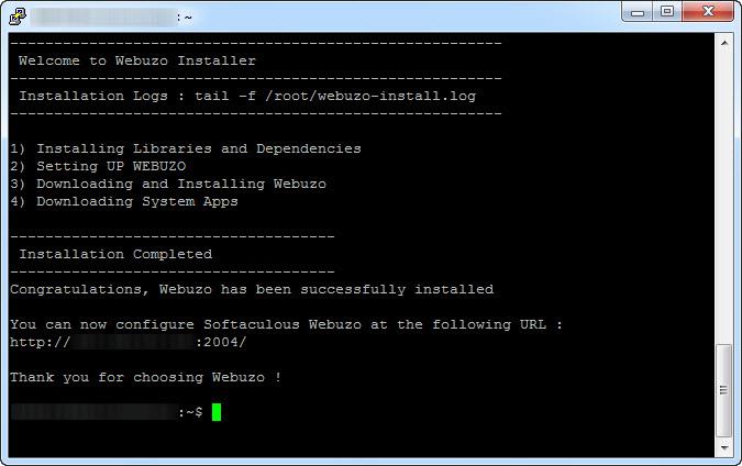 install webuzo selesai