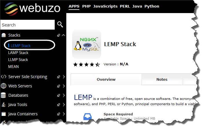 Webuzo Lemp stack