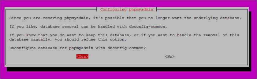 deconfigure-database-phpmyadmin
