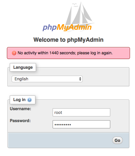welcome-page-phpmyadmin