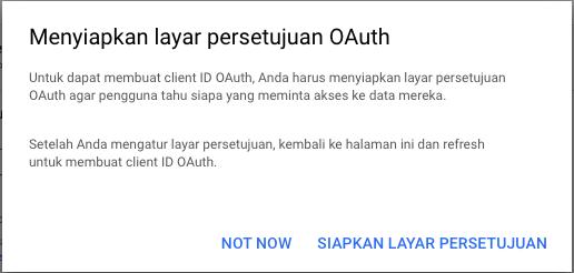 Layar Persetujuan OAuth