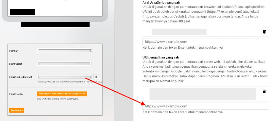 Copy Authorized Redirect URI